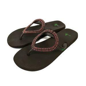 SANUK Ibiza Monaco Brown Pink Flip-Flop Sandals